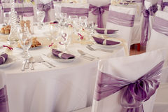 Wedding chairs with ribbon Royalty Free Stock Image