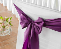 Wedding chairs with ribbon. Stock Images