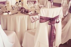 Wedding chairs with ribbon Royalty Free Stock Photo