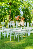 Wedding chairs set up before the ceremony Royalty Free Stock Image