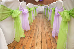 Wedding chairs with silk ribbons Stock Image