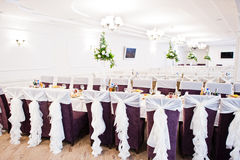 Wedding chairs with white ribbons at reception. Royalty Free Stock Image
