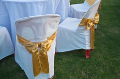 Free Wedding Chairs With Golden Color Ribbon Royalty Free Stock Photography - 46989517