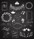 Wedding chalkboard Banners and Ribbons set. With Arrow  hearts  frames  wreaths  swags  bells  birds  champagne  floral border  banner  ribbon  and rings Royalty Free Stock Photos