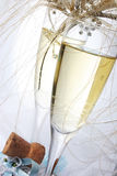 Wedding Champagne. Champagne glasses with rings and tiara Stock Photos