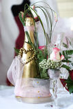 Wedding champagne. Champagne and flowers Stock Photo