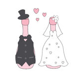 Wedding champagne bottles in suit and dress. Stock Images