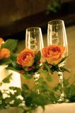 Wedding champagne flutes Stock Images