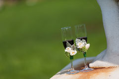 Wedding Champagne glasses. At outdoor wedding Royalty Free Stock Photos