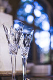 Wedding champagne glasses for bride and groom  Stock Photo
