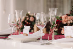 Wedding. The champagne glasses. Royalty Free Stock Image