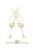 Wedding champagne glasses  illustration Stock Images
