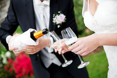 Wedding Champagne Toast. The Groom serving Champagne to the bride at the wedding party Royalty Free Stock Photo