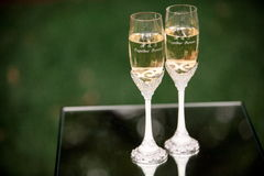 Wedding champaign glasses Stock Photos