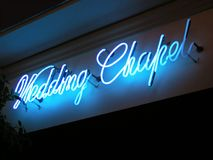 Wedding Chapel Neon Sign. Inside a hotel Stock Photo