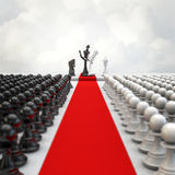 Wedding chess ceremony. 3D render of chess pieces at wedding Royalty Free Stock Images