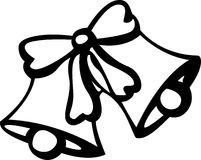 Wedding and christmas bells. Black and white illustration of two decorated bells with a ribbon royalty free illustration