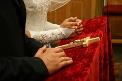 Wedding in church. Couples wedding in catholic church Stock Image