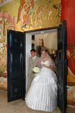 Wedding in church. A ceremony of wedding at candles in church Kapernaum at coast Kineret Stock Photography