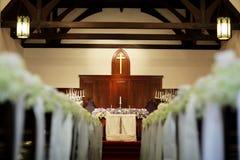 Wedding church. Church wedding decorate aisle with flowers royalty free stock photos