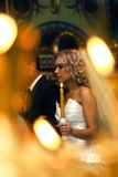 Wedding in church. The bride on ceremony of wedding - internal church Stock Images