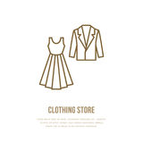 Wedding cocktail dress, men suit icon, clothing shop line logo. Flat sign for apparel collection. Logotype for laundry vector illustration