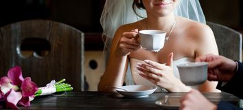 Coffee break on the wedding royalty free stock image