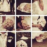 Wedding collage. Collage of nine wedding photos stock image