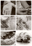 WEDDING COLLAGE. Of six fragments in sepia Stock Photos