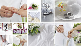 Wedding collage. Wedding theme collage composed of different images Stock Image