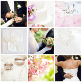 Wedding collage. Collection of nine wedding photos royalty free stock photography