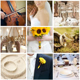 Wedding collage. Collection of nine wedding photos Stock Images