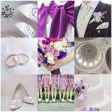 Wedding collage. Collection of nine wedding photos stock image
