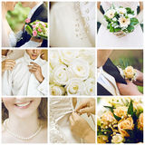 Wedding collage. Collection of nine wedding photos royalty free stock images