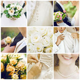 Wedding collage. Collection of nine wedding photos Stock Photo