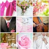 Wedding collage. Collection of nine wedding photos stock photo