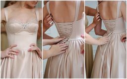 Wedding collage - beautiful beige backless dress on bride. Stock Image