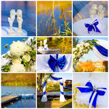 Wedding collage in blue Stock Images
