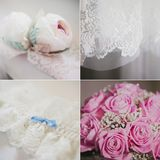 Wedding collage with bridal accessories, bride's Royalty Free Stock Image