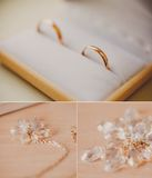 Wedding collage - bridal accessories and golden Stock Photo