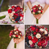 Wedding collage with bride's bouquet close up Stock Photography
