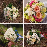 Wedding collage with bride's bouquet close up Stock Images