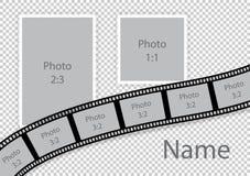 Wedding collage frames romantic photo template. Vector illustration royalty free illustration