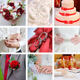 Wedding collage of photos red style Royalty Free Stock Image