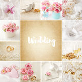 Wedding collage. With wedding rings and flowers Stock Image