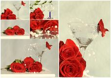 Wedding collage with roses and glasses Stock Images