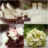 Wedding collage in white Royalty Free Stock Photography