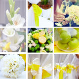 Wedding collage in yellow and green color theme. Wedding collage in yellow, green color theme royalty free stock photography