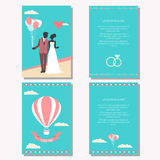 Wedding collection with bride, groom silhouette. Balloons and cartoon romantic decorative elements  on stylish background for use in design for card Royalty Free Stock Photo