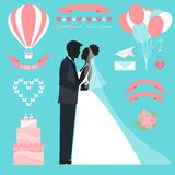 Wedding collection with bride, groom silhouette. Wedding romantic collection with bride, groom silhouette and cartoon decorative elements  on soft background for Royalty Free Stock Photos